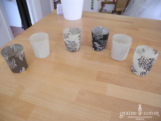 Deco2table - Lot de 6 photophores en verre motifs nature