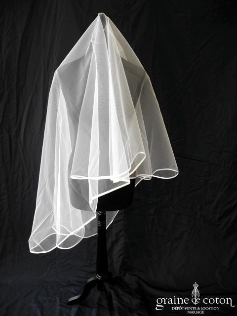 Pronuptia - Voile court de 1,50m en tulle ivoire clair