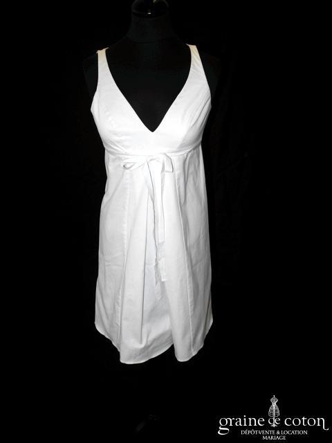 Consuelo Par Mari - Robe courte en coton épais ivoire (empire bretelles)