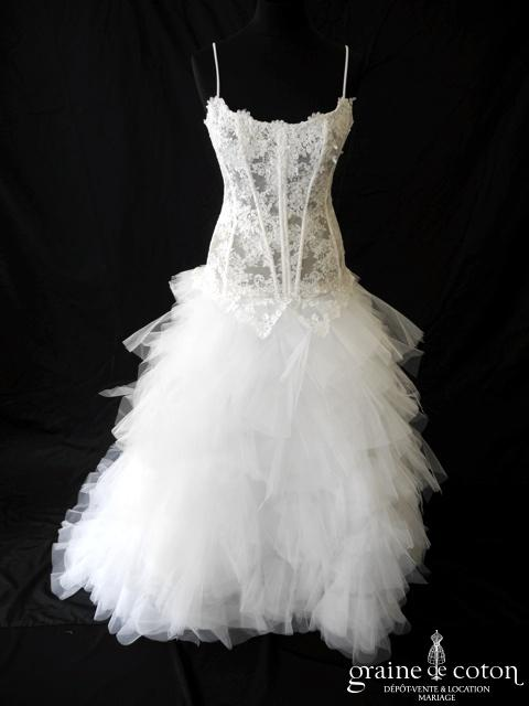 Cymbeline - Oui 09 (dentelle mouchoirs tulle bretelles blanche taille basse)