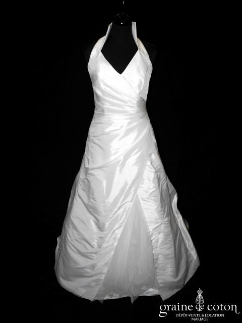 Eglantine Création - Robe en taffetas ivoire drapé avec tour de cou (tulle)