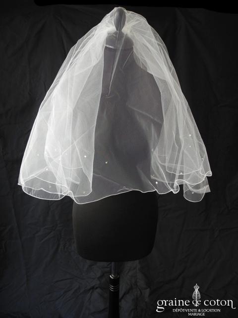 Miss Kelly - Voile court en tulle blanc avec strass