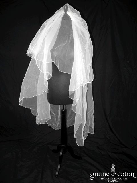 Pronovias - Voile mi long en tulle bordé de perles