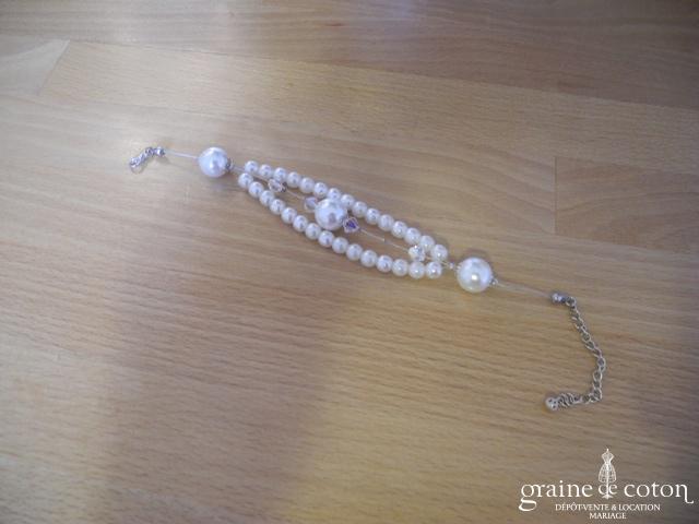 Création - Bracelet avec perles nacrées et toupies transparentes