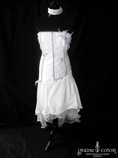 Sylvie Création - Robe courte en tulle, organza et taffetas ivoire et parme (laçage)