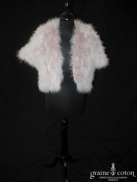 123 - Boléro  / manteau en plumes vieux rose