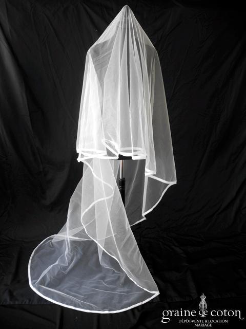 Cymbeline - Voile Graziela long de 2,50 mètres en tulle blanc bordé d'un biais d'organza
