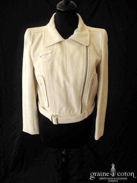 Carven - Veste type Perfecto en coton épais ivoire