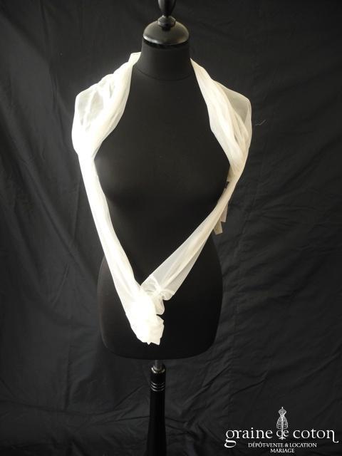 Bianco Evento - Boléro en tulle strech ivoire pailleté avec strass Swarovski (E122)