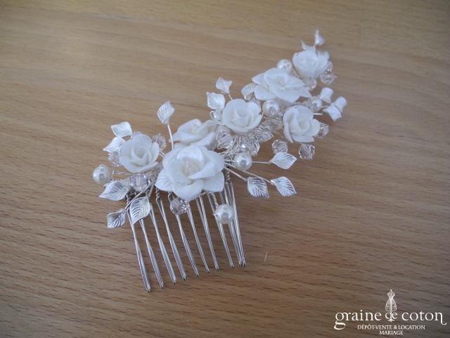Bianco Evento - Peigne fleurs argentées et nacrées