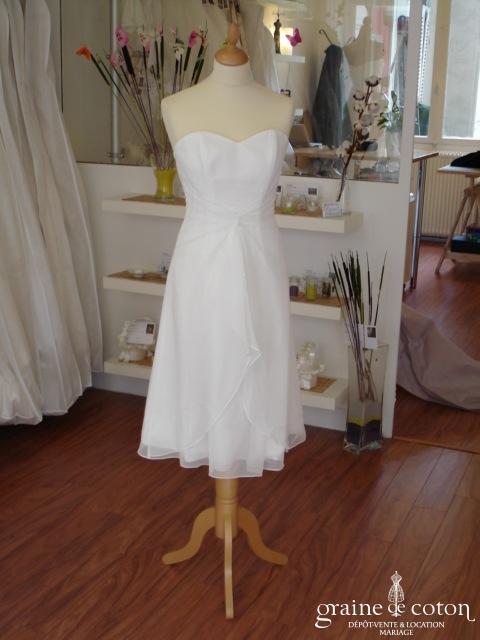 Pronuptia - Robe courte en mousseline ivoire clair