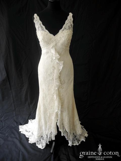 White One - Robe une pièce en dentelle ivoire (courte et longue dentelle empire bretelles fluide)