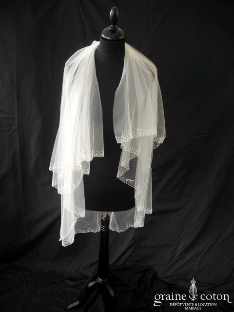 Pronuptia - Voile court en tulle ivoire clair bordé de fines perles