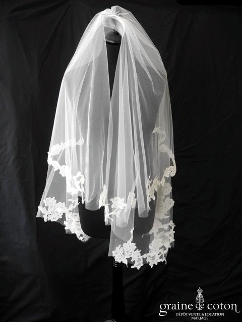 Rosa Clara - Voile mi long en tulle souple ivoire clair bordé de dentelle