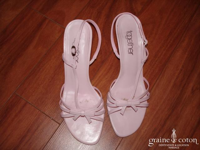 Sandales Together (Helline) en cuir rose