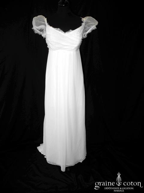 Pronuptia - Louise (empire fluide drapée blanche mousseline organza manches bretelles dentelle)