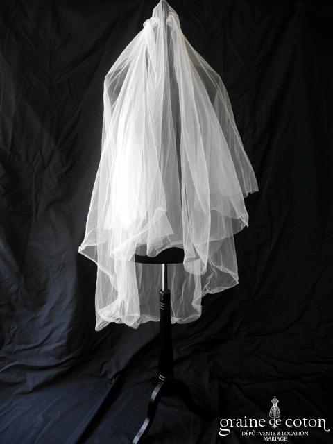 Pronovias - Voile mi long en tulle ivoire, bords bruts