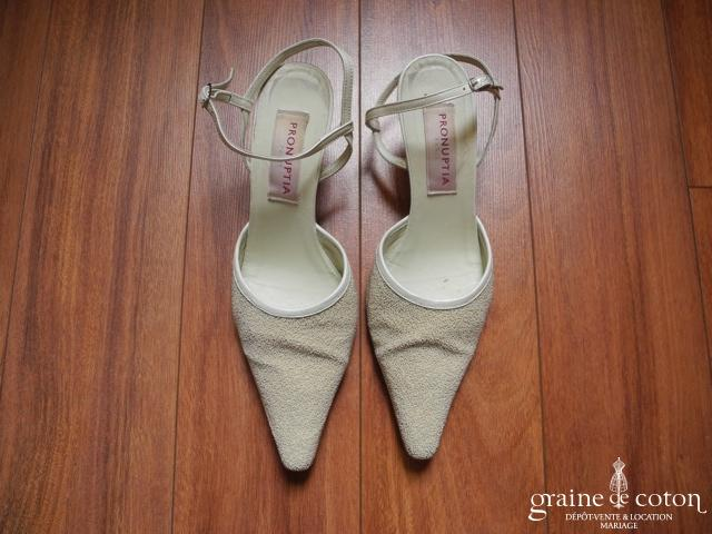 Pronuptia - Escarpins (chaussures) ivoires perlés