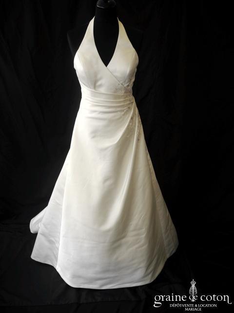 Luxuar - Robe en satin drapé et brodé ivoire (tour de cou bretelles)