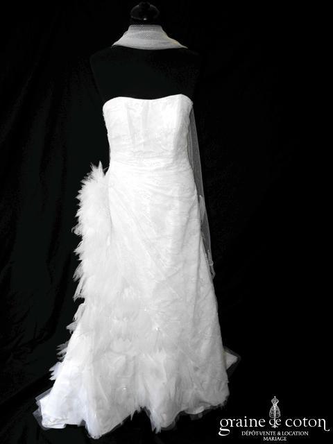 Mariées de Paris - Greene (plumes tulle dentelle drapé sirène bustier)