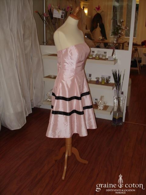 Robe de soirée bustier noire et rose