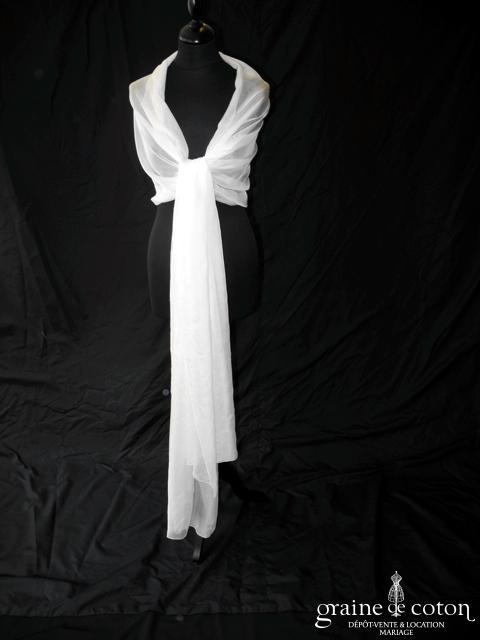 Jesus Peiro - Étole en organza de soie ivoire