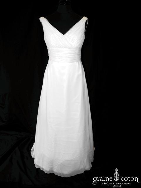 White One - Terso (mousseline fluide empire drapée bretelles décolleté V dos boutonné)