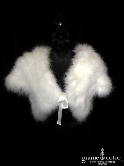 Boléro / manteau en plumes / duvet de cygne ivoire à manches courtes
