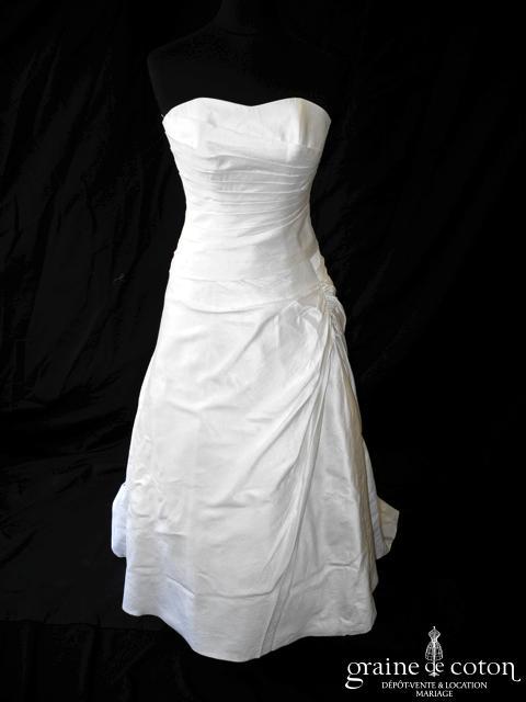 Mariées de Paris pour Cymbeline - Robe en soie sauvage drapée ivoire (laçage coeur)