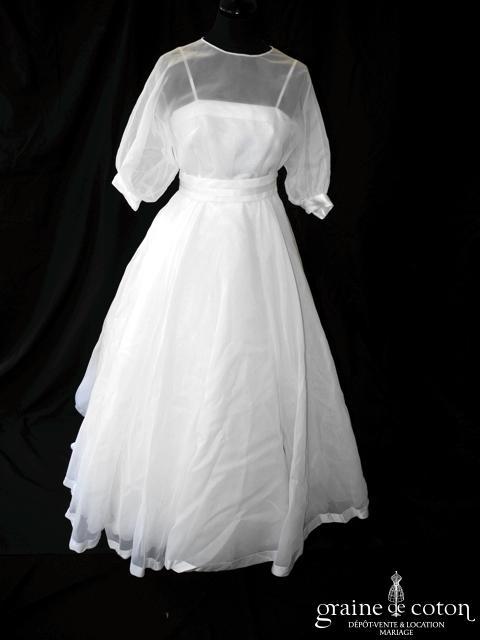 Aurore - Robe vintage en organza blanc (manches fluide bretelles)