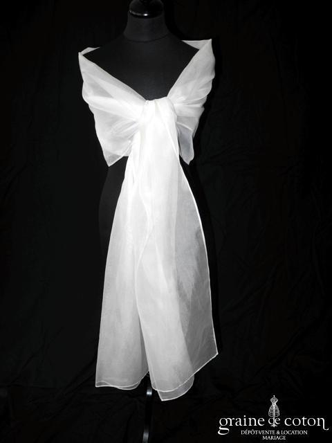 Linea Raffaëlli - Étole en organza de soie ivoire