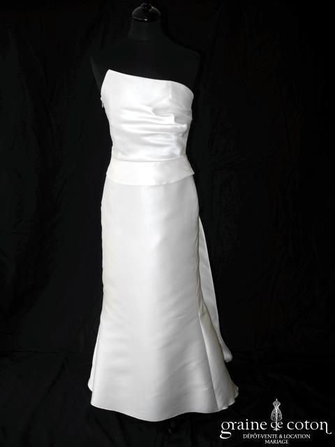 Linea Raffaëlli - Robe sirène taille haute drapée en mikado de soie ivoire