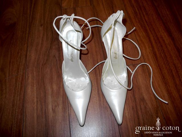 Empire du mariage - Escarpins (chaussures) à lanières ivoire nacré