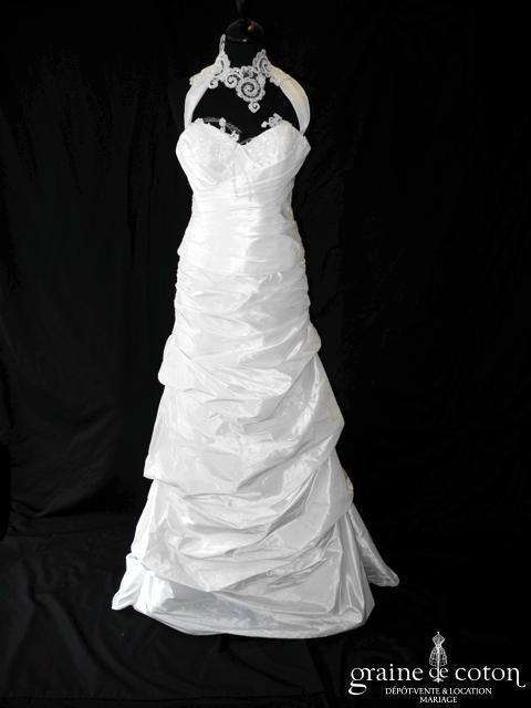Lambert Créations - Glamour (taffetas dentelle drapé tour de cou bretelles blanche dos boutonné)