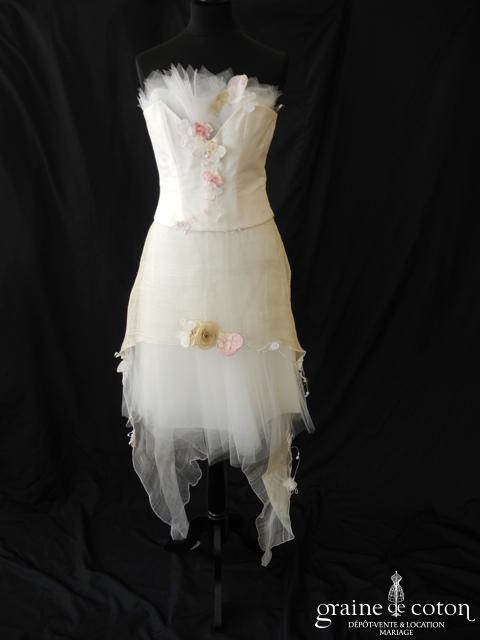 Elsa Gary - Fanny (courte et longue soie sauvage sisal tulle coeur laçage bustier)