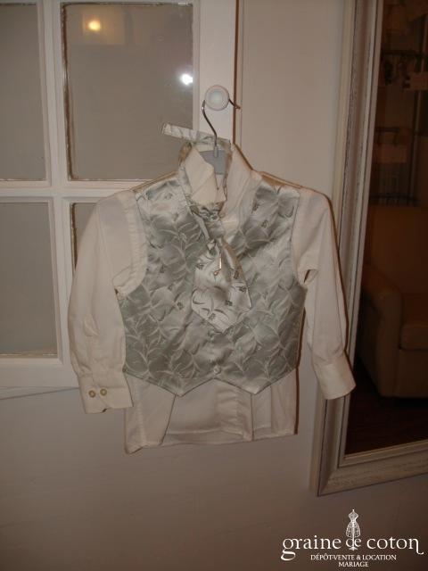 Rossi Junior - Costume complet chemise, lavallière et gilet gris souris