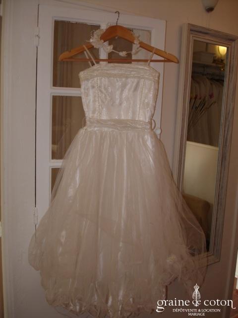 Robe de demoiselle d'honneur tulle blanc