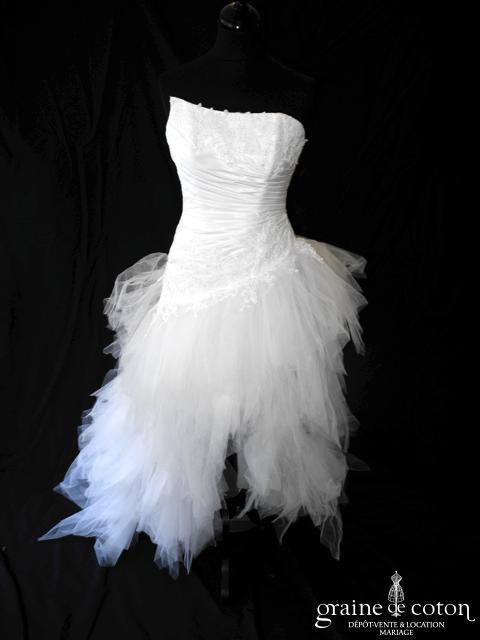 Pronuptia - Panoramique (courte et longue mouchoirs tulle taffetas drapé taille basse blanche dos boutonné dentelle)