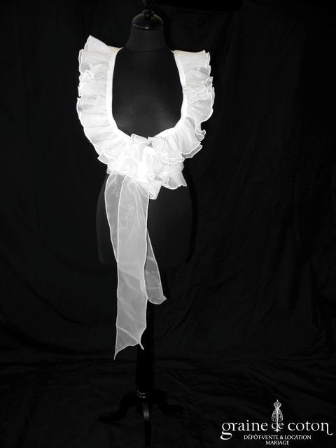 Cymbeline - Boléro cache coeur à volant en organza ivoire clair