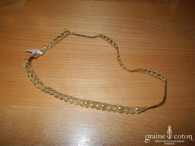Elsa Gary - Tour de cou (collier) ou headband en dentelle dorée perlée