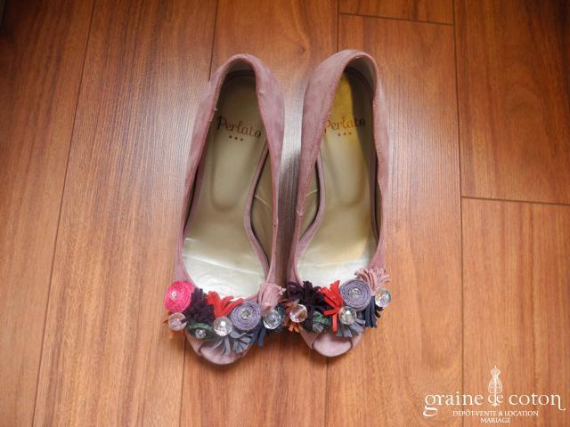 Perlato - Escarpins (chaussures) ouvertes en nubuck roses et fleurs colorées