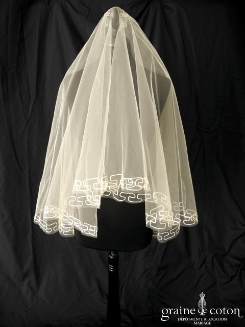 Cymbeline - Voile court ivoire clair brodé