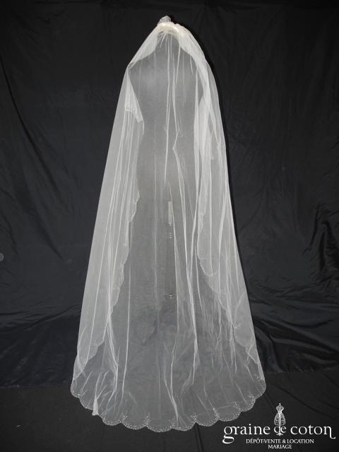 Faragé - Voile long de 2 mètres en tulle ivoire perlé