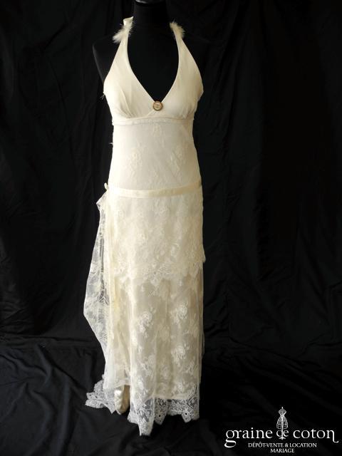 Création - Robe empire en satin de soie et dentelle style années 30 (décolleté V tour de cou bretelles mousseline taille basse)
