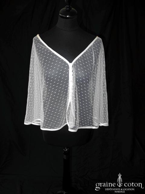 Création - Boléro / cape en tulle plumetis bordée d'un biais de satin