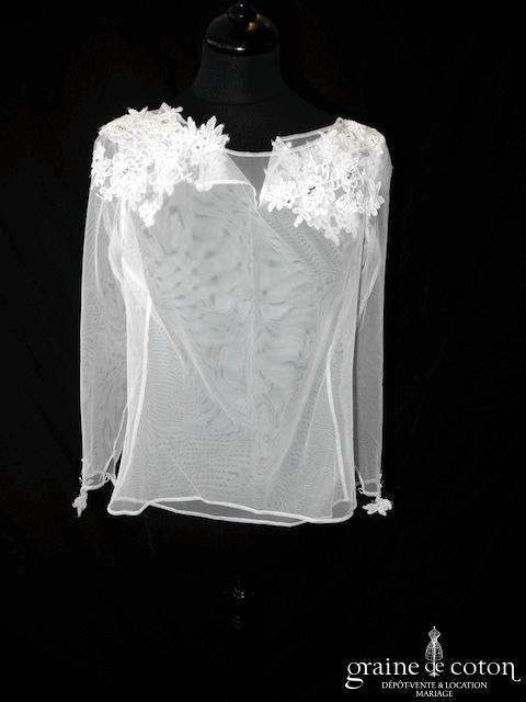 Rosi Strella - Boléro en tulle et dentelle de Calais blanc avec manches longues