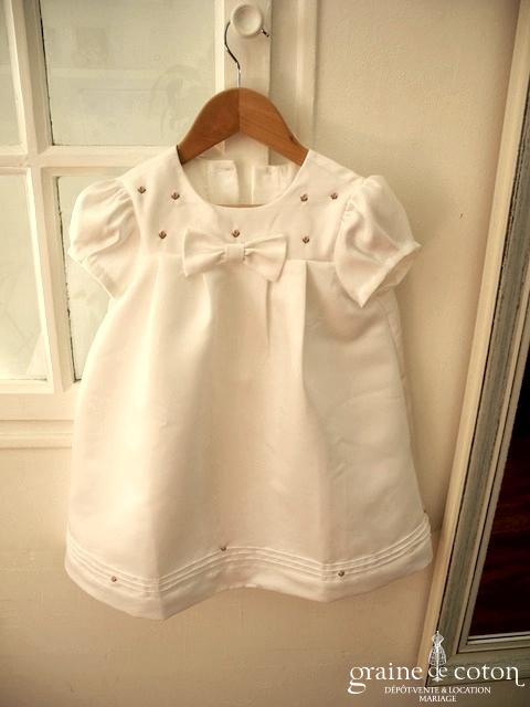 Hibiscus - Robe demoiselle d'honneur petite fille à manches ballon blanche en coton