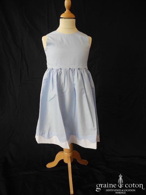Hibiscus - Robe demoiselle d'honneur petite fille à larges bretelles en coton bleu ciel