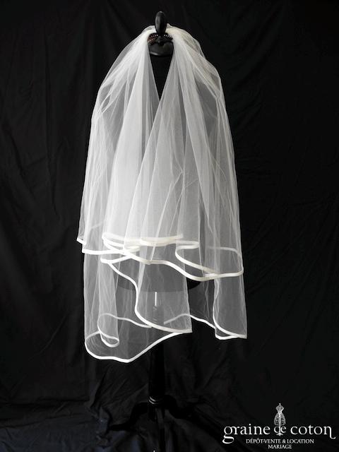 Pronovias - Voile mi long en tulle ivoire clair bordé d'un biais d'organza