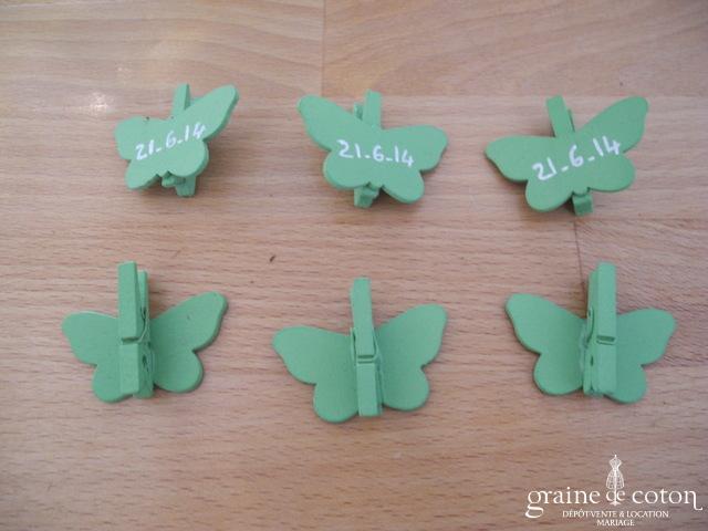 Pinces papillons vertes - Lot de 6